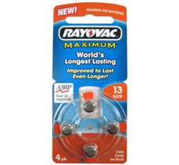 Rayovac size 13 hearing aid batteries offer a long running time, enhanced performance and are a reliable brand, making them an ideal battery choice. Rayovac hearing aid batteries are by far the most popular brand that HearingDirect sells as thousands of our customers recognise their great value for money and consistent reliability/5.